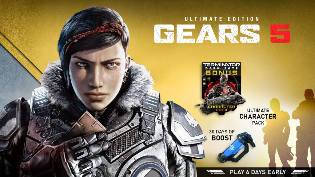 Kait stares forwards holding her necklace in front of a gold background. The Gears 5 Ultimate Edition logo is present. A canister of Boost, which contains a blue liquid, is shown with the text 30 Days Of Boost. Two silhouettes stand next to the text Ultimate Character Pack. The T-800 Character stands next to the Terminator Dark Fate Bonus Character Pack text.