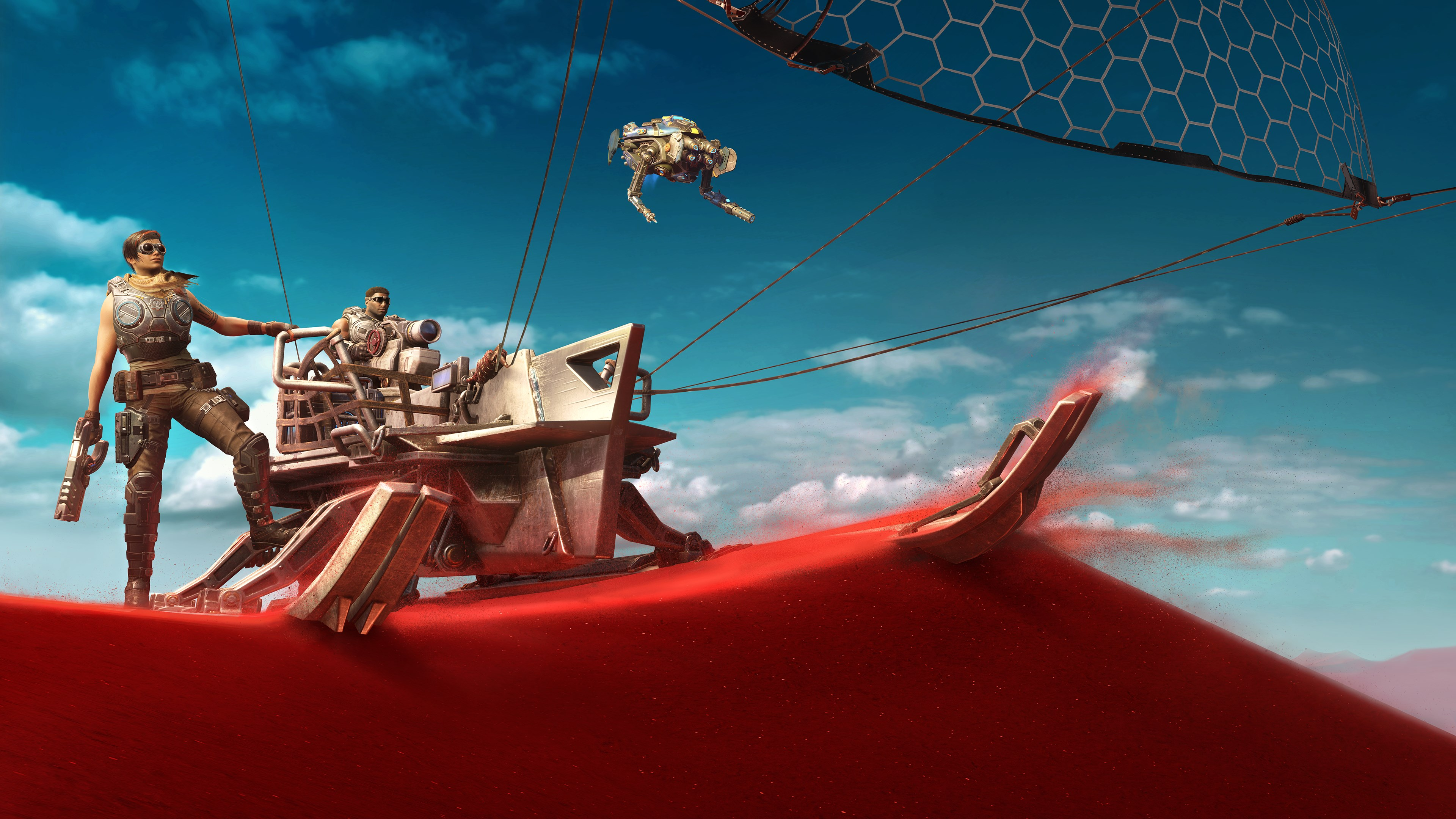 The Skiff stands still atop a red sand dune, the sail aloft in the wind. Desert Armored Kait stands looking out over the horizon. Her left hand holds on to the side of the Skiff and in her right she holds a pistol. Desert Armored Del sits in the Skiff's driver seat. Jack hovers in the foreground.