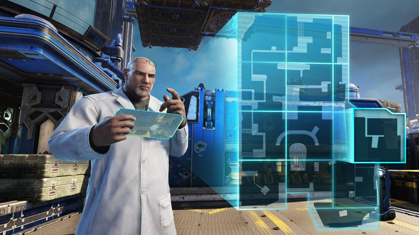 Lab Coat Baird holds a tablet in his hands. From the tablet, a holographic map is projected in front of him, a map tile sliding into place to complete a new map layout.