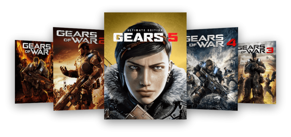 Game box art left to right: Gears of War, Gears of War 2, Gears 5 Ultimate Edition, Gears of War 4, Gears of War 3