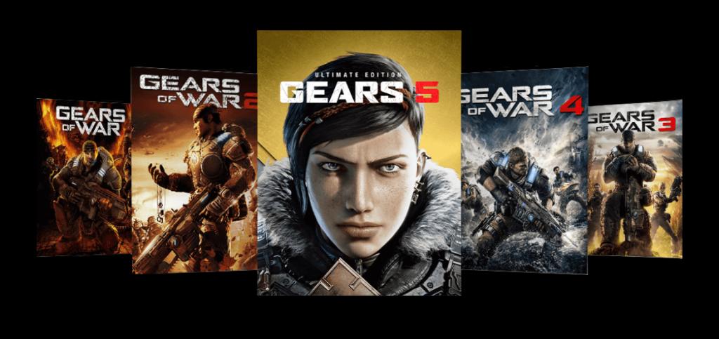 ゲーム外箱アート、左から右:Gears of War, Gears of War 2, Gears 5 Ultimate Edition, Gears of War 4, Gears of War 3