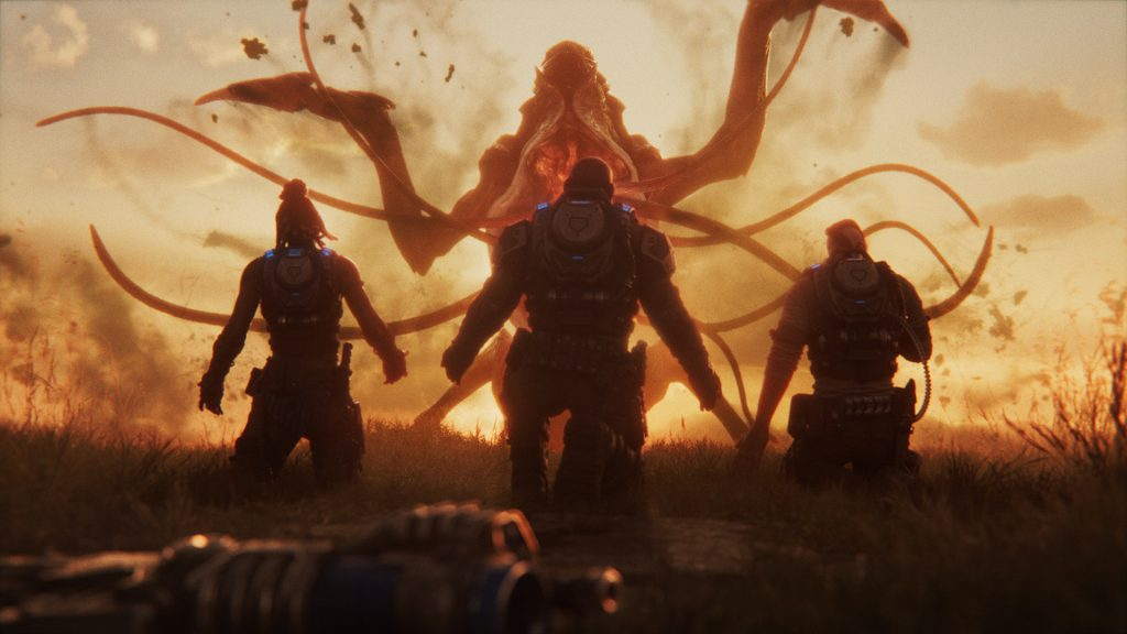 Sunset scene. A Snatcher rises up, tentacles spread. Three weaponless soldiers kneel down before it waiting to be taken