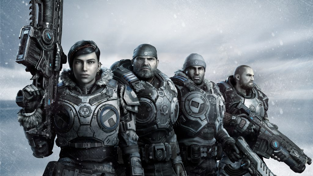 Gears 5 squad. Winter Armored Kait in the front holding the Lancer up over her shoulder. Armored Marcus stands to her left staring forward. Winter Armored Del stands to Marcus's right holding a pistol. And in the back is Armored JD holding a new Lancer, facing away from the squad.