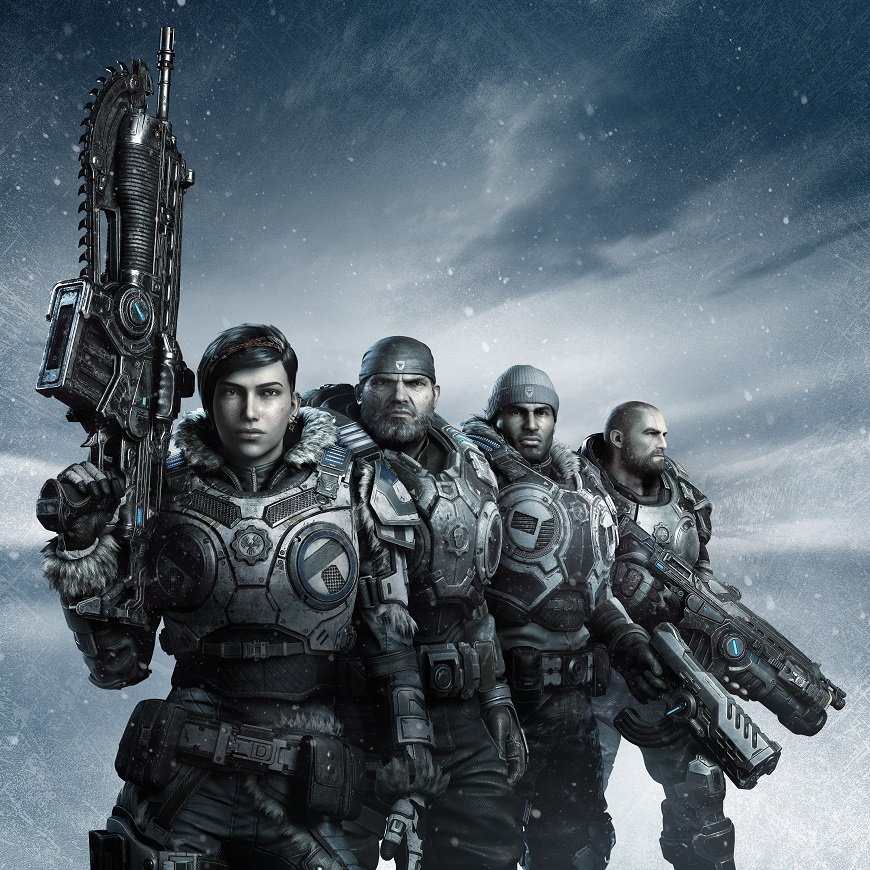 A squad of four stands assembled in front of an icy bluish white background