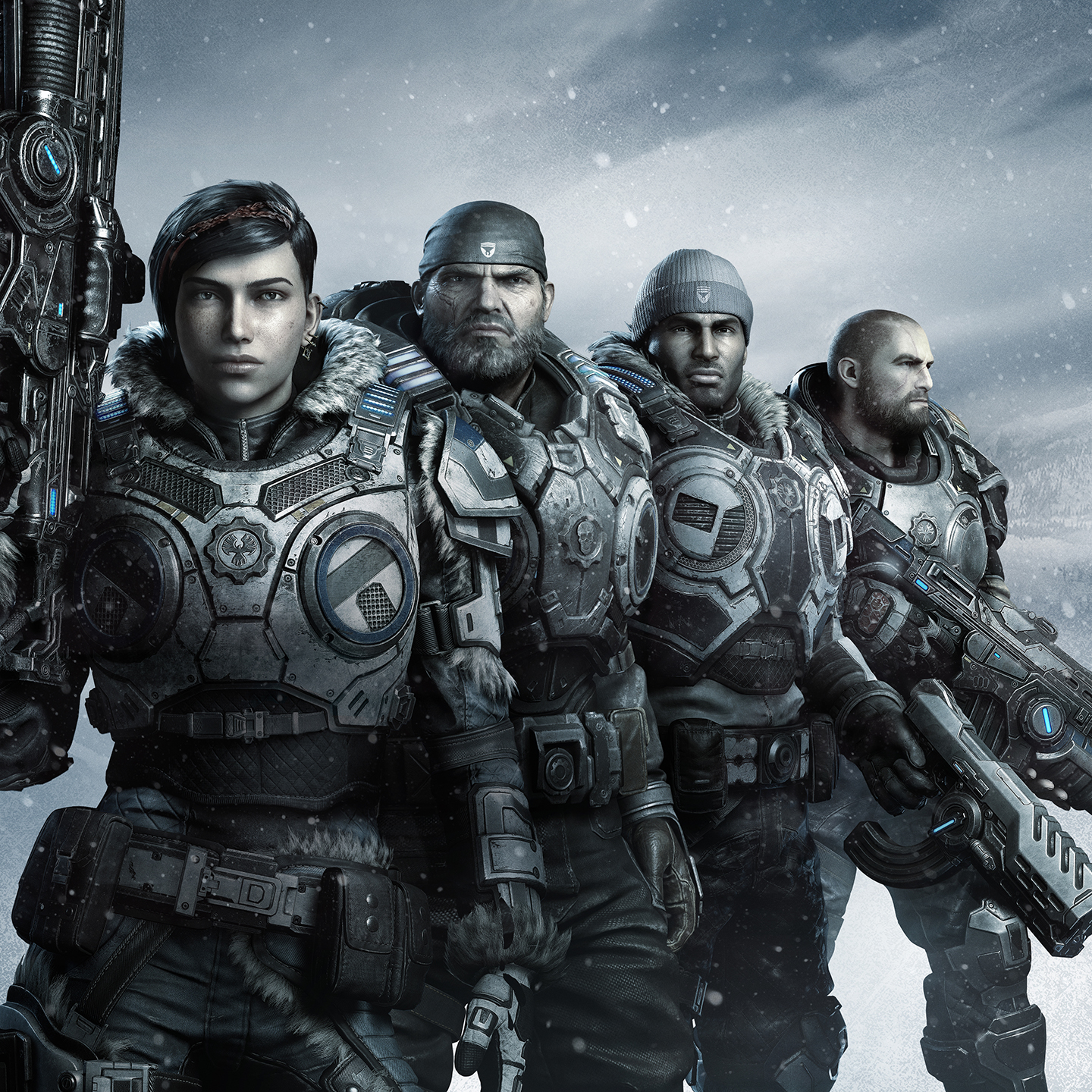 A squad of four stands assembled in front of an icy bluish white background. The image is a slightly monochromatic gray, with the hints of blue on the armor and emissives slightly more saturated. Winter Armor Kait stands in the forefront staring straight at ahead, her right arm bent as she hoists the new Lancer up against her shoulder. Armored Marcus stands just behind her to her left. He stares forward challengingly, his signature do-rag on his head, and his bushy grizzled beard slightly more gray. Winter Armored Del stands to Marcusu2019s right holding the Talon AutoPistol in his left hand, the unique curved ammo cartridge just visible. He also looks straight ahead. And standing to Delu2019s left is Armored JD, his injured right arm just barely visible, as holds the Lancer GL at the ready. His right arm bent, and the weapon pointing muzzle down. He alone, is looking off to his left, and away from where the rest of the squad are looking.