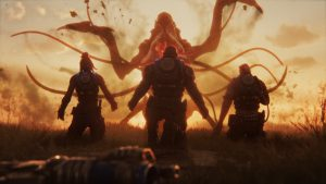 A Snatcher rises up, tentacles spread and mouth agape, silhouetted by a setting sun behind. The scene awash in golden light. Three weaponless soldiers kneel down before the Snatcher waiting to be taken. Lahni and Keegan their arms spread out in surrender, as Mac inserts his rebreather waiting to be taken.