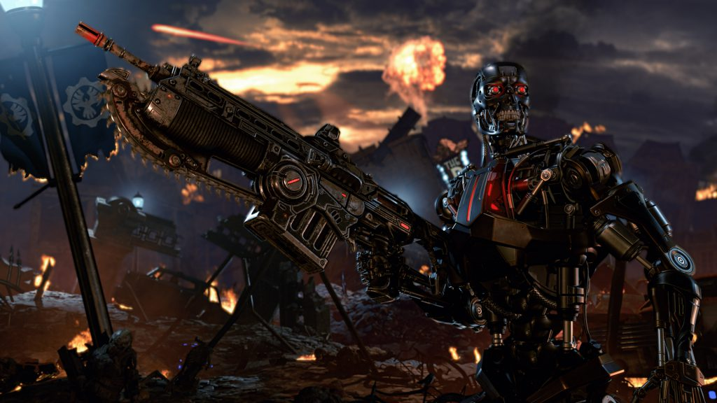 Terminator Dark Fate T-800 stands in a post-apocalyptic environment holding the new Gears 5 lancer.