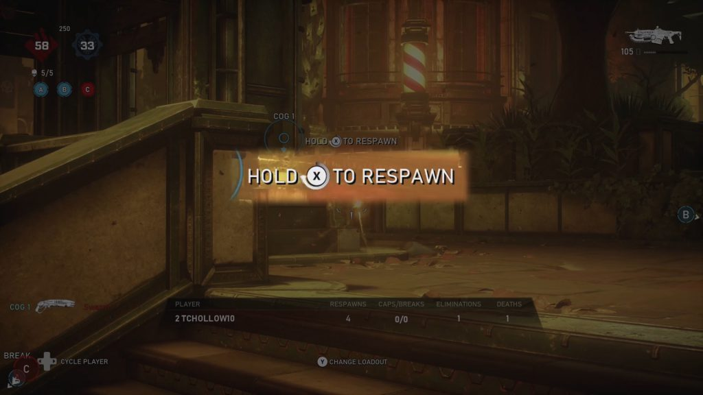 A highlighted part of the game UI shows Hold X to Respawn, with the meter around the X button prompt filling up in a circular fashion