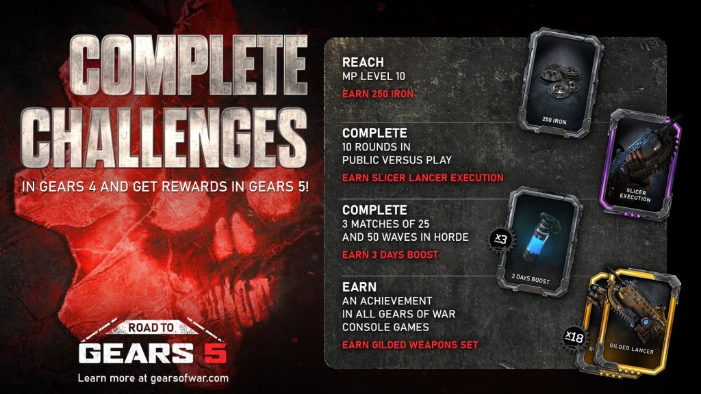 Various rewards are shown - a number of coins symbolizing Iron, a Boost canister, a hand holding a chainsaw for the Slicer Execution and the Gilded Lancer weapon skins. Challenge details are also listed, with full descriptions in the text below.
