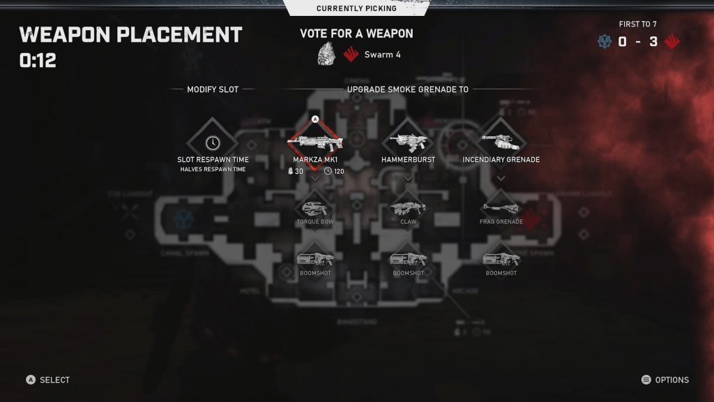 A game UI screen is shown, highlighting potential weapons to pick for the Swarm team