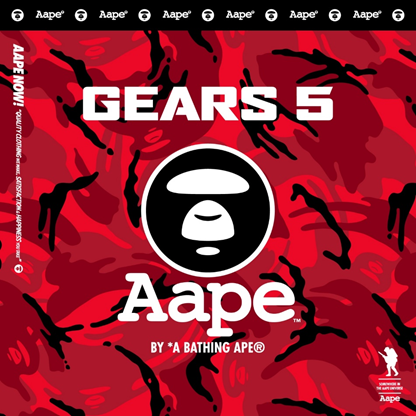 The Gears 5 and AAPE By A Bathing Ape logo on a red camo pattern