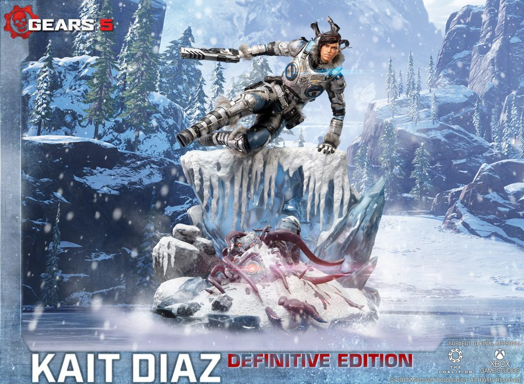 First 4 Figures definitive edition statue depicting Kait Diaz, including armor LEDs, vaulting over a cliff of ice and destroyed Reject.