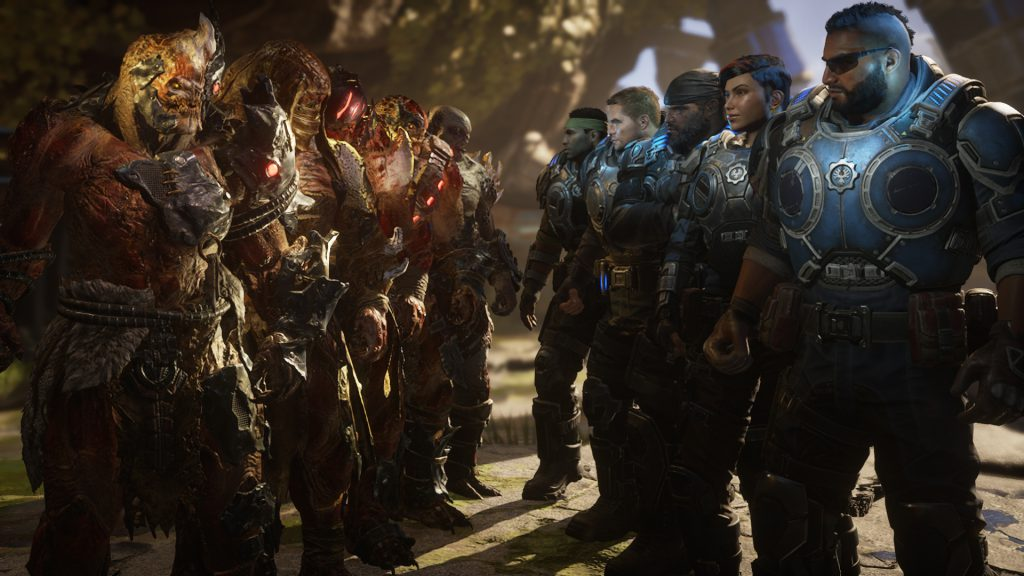A squad of COG soliders face off against a squad of Swarm enemies