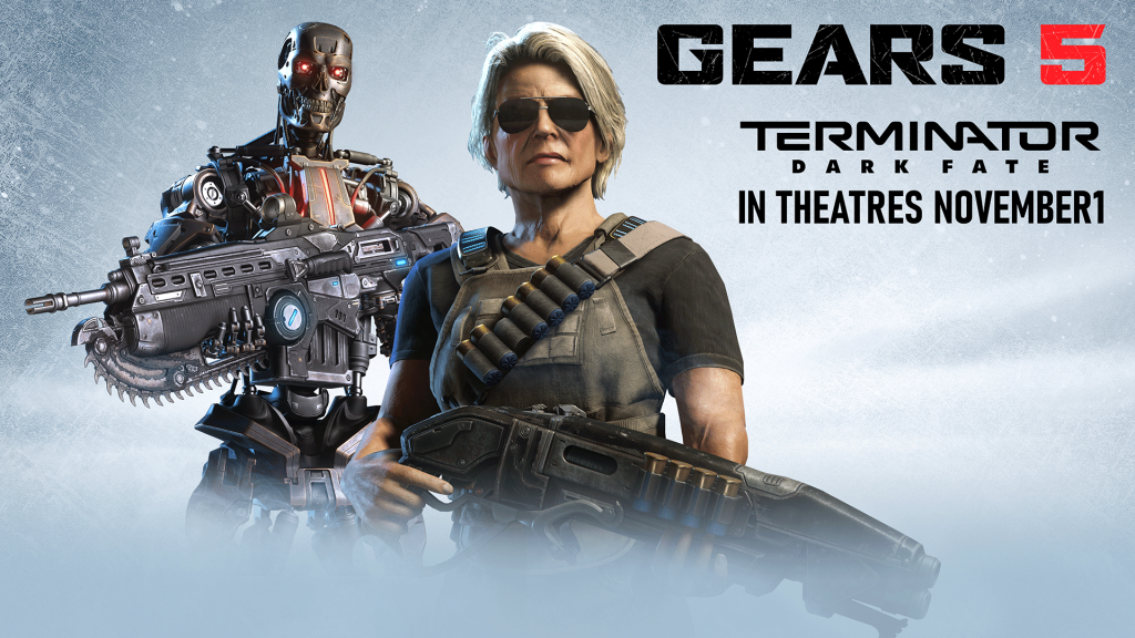 Sarah Connor stands holding a Gnasher. Behind, a T-800 stands holding a Lancer.