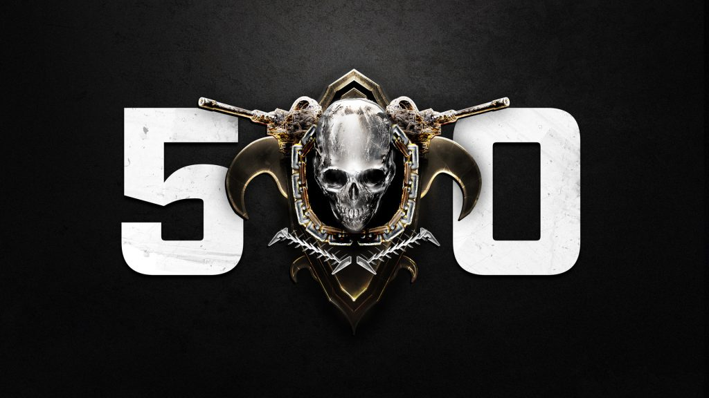 The Horde Logo in gold, with the number 50, on a concrete background