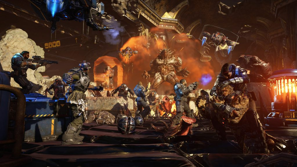 A squad of COG soldiers battle against a huge number of Swarm, as an unknown Boss enemy looms over them roaring.