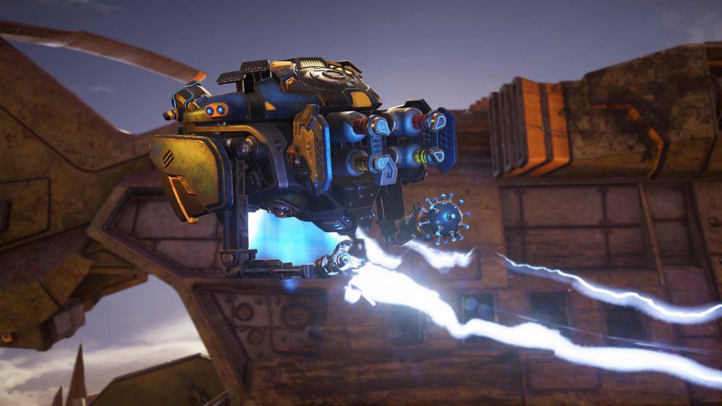Jack floats as he shock beams an off-screen enemy