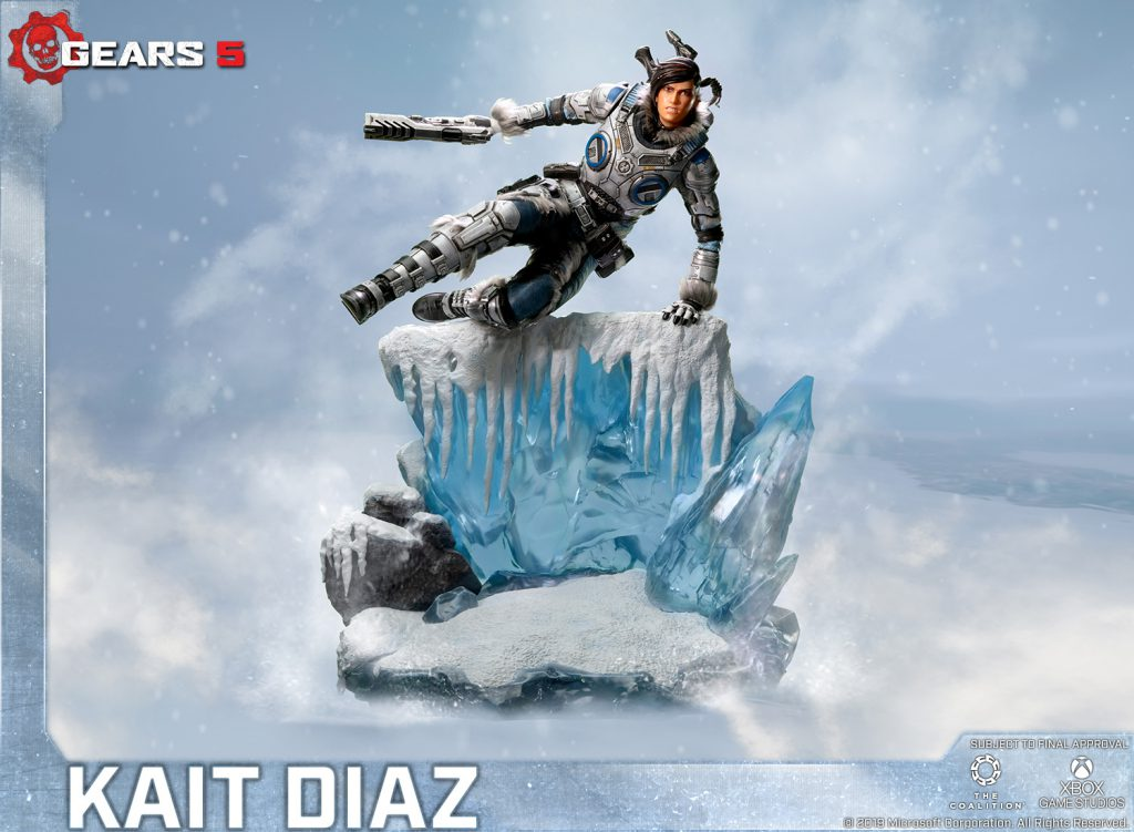 First 4 Figures standard edition statue depicting Kait Diaz vaulting over a cliff of ice.