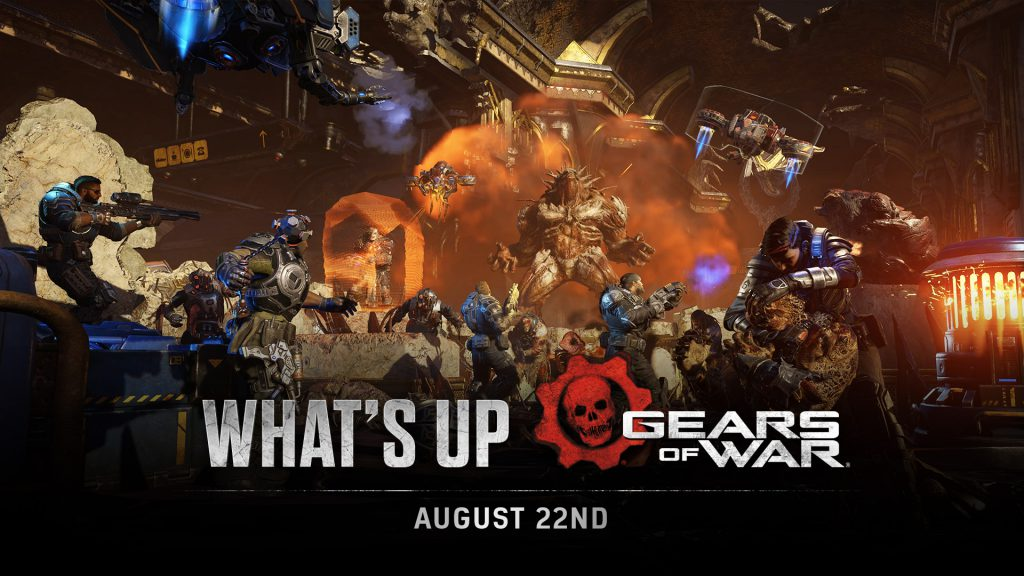 A squad of COG soldiers battle against a huge number of Swarm, as an unknown Boss enemy looms over them roaring. The What's Up logo is shown.
