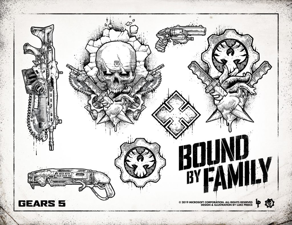 A Tattoo flash sheet featuring art by Luke Preece. Tattoos include a Lancer, Gnasher, Boltok, New COG Omen, Marcus themed art, A New COG Omen with a heart with two knives through it, a Locust symbol and the text Bound By Family.