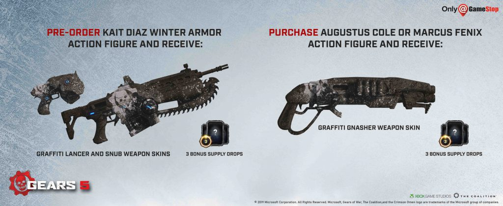 Graffiti Weapon Skin pictured with details for eligibility from GameStop - listed below image.