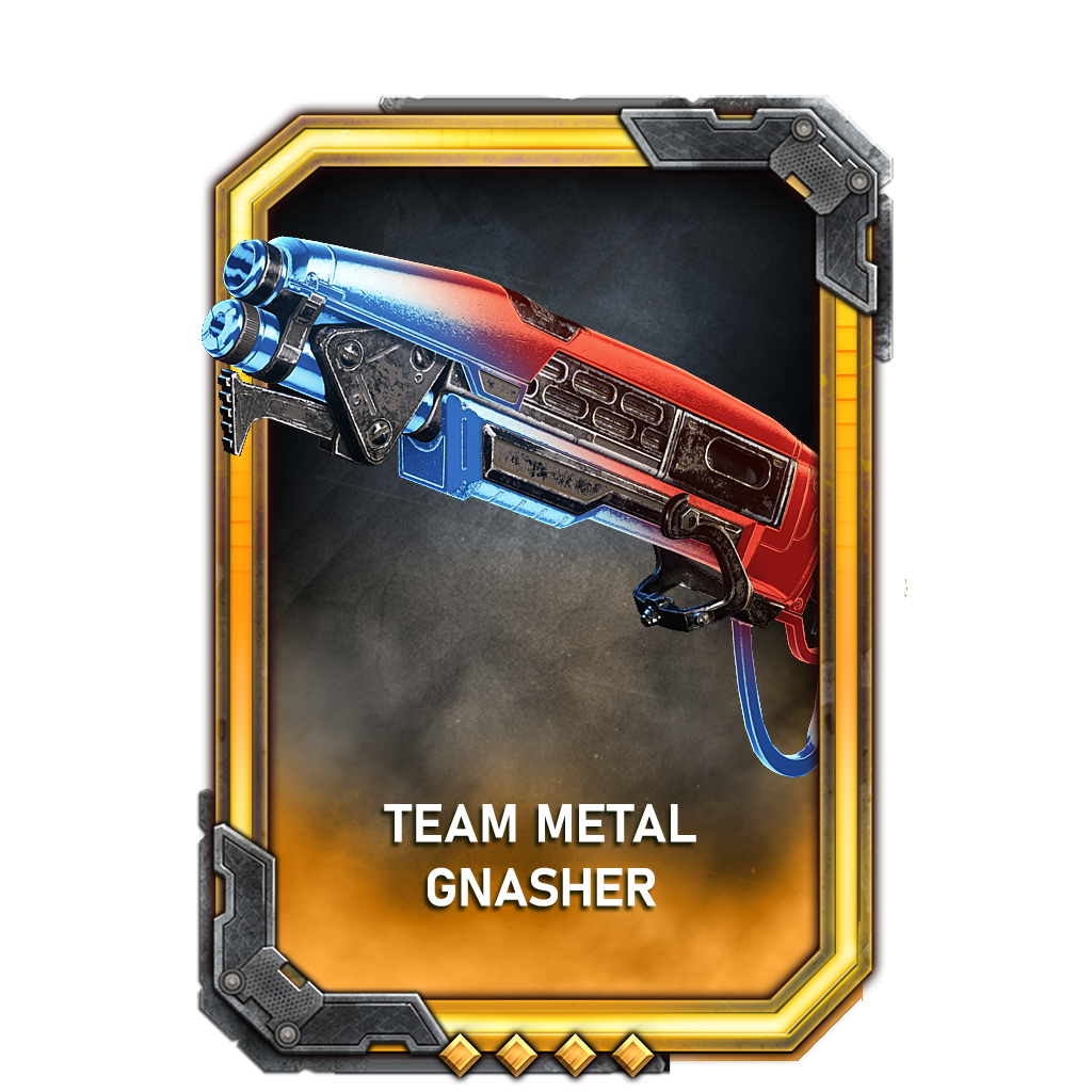 A chromatic red or blue Gnasher (depending on team) called Team Metal