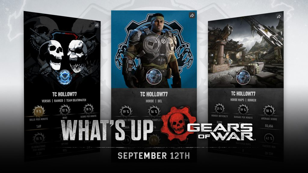 What's Up Gears of War September 12th title image, with stat cards shown in the background