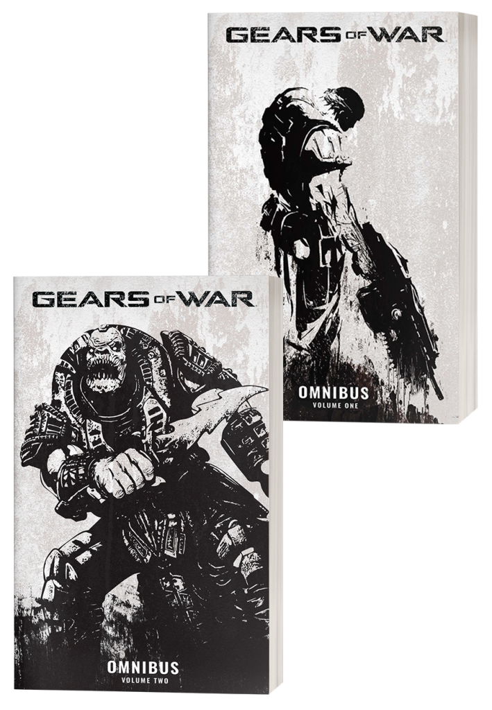 Two volumes of Gears of War: Omnibus comic book series.