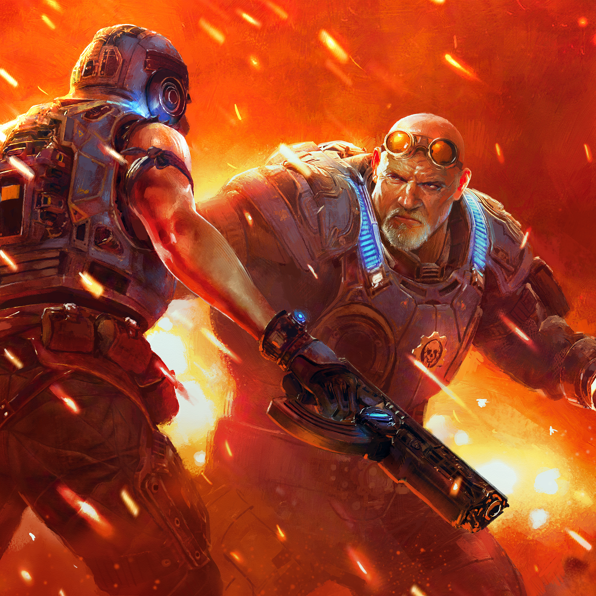 Two Gears of War characters in the heat of battle surrounded by flame-like light