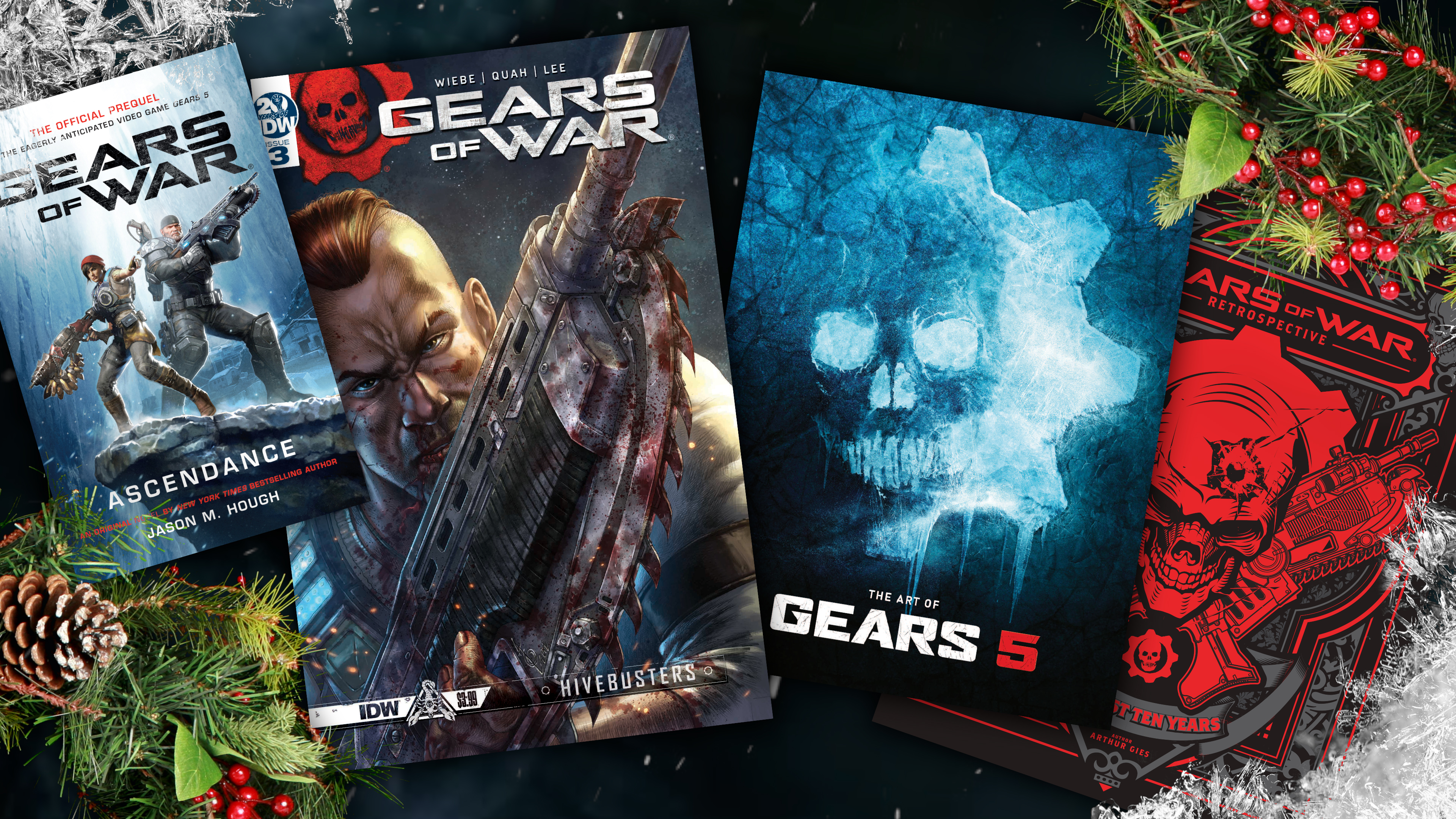 Various books about Gears of War universe