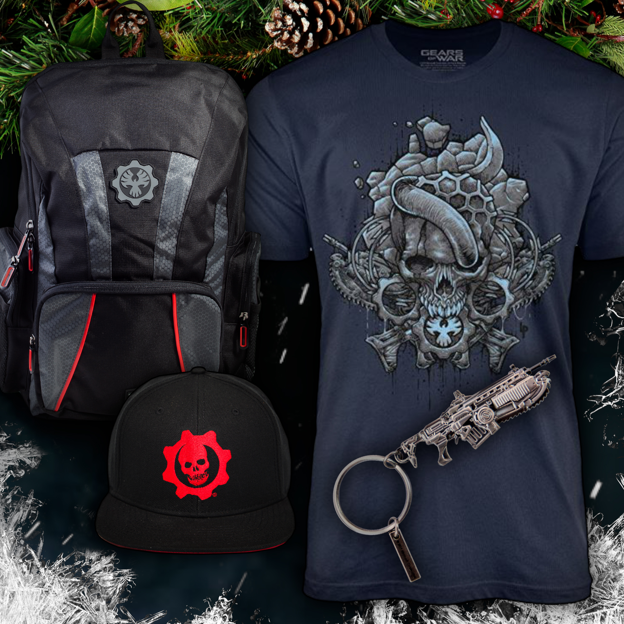Gears 5 themed apparel on a display