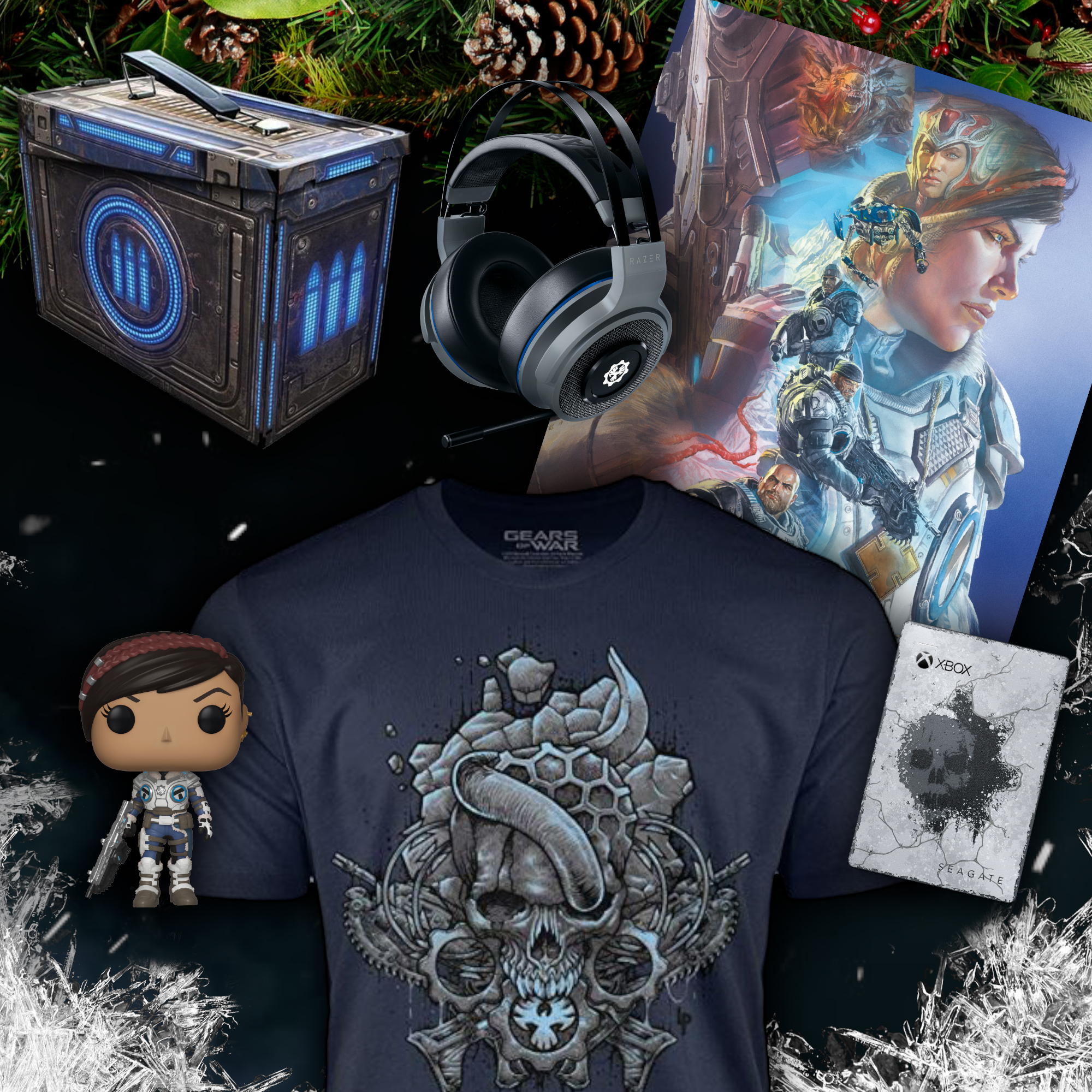 Various Gears of War merchandise on a display