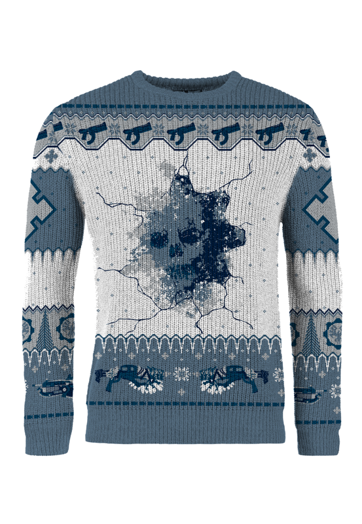 The 2019 Gears of War holiday sweater, featuring an icy skull design on the center with the Claw, Talon, and Lancer weapons throughout, realized in blue and white colors.