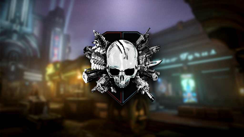 Gears 5 Arcade Logo: a skull surrounded by Gears weapons against a  red and blue crest.