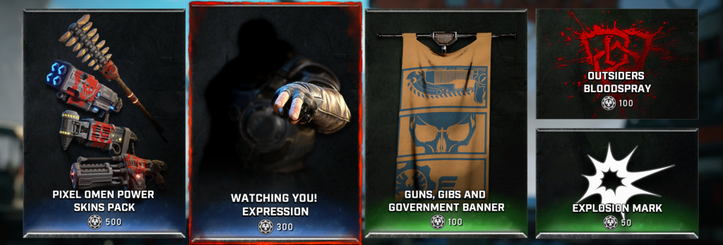 Screenshot of the weekly store featuring Pixel Omen Power Skins Pack, Watching You Expression, Guns Gibs And Government Banner, Outsiders Bloodspray, and Explosion mark