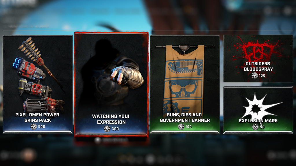 Screenshot of the weekly store featuring Pixel Omen Power Skins Pack, Watching You Expression, Guns Gibs And Government Banner, Outsiders Bloodspray, and Explosion mark with a blurred background.
