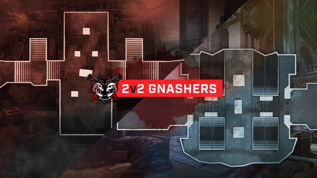 """2v2 Gnashers"" on a banner in the foreground with two maps crossed diagonally in the back."