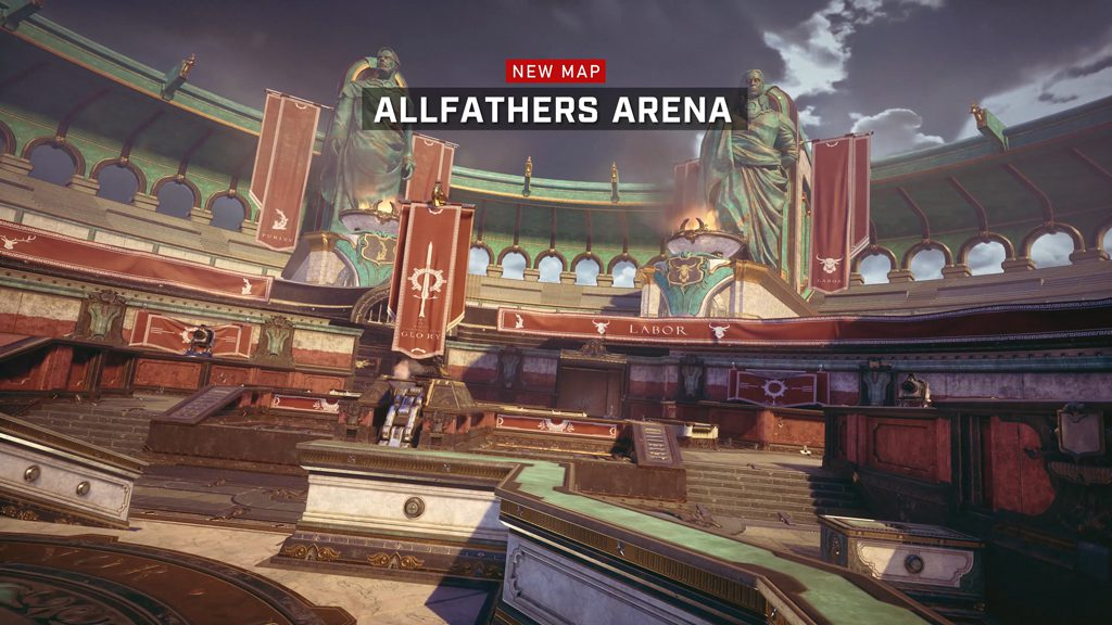 """New Map: Allfathers Arena"" across a banner at the top with the map set behind."