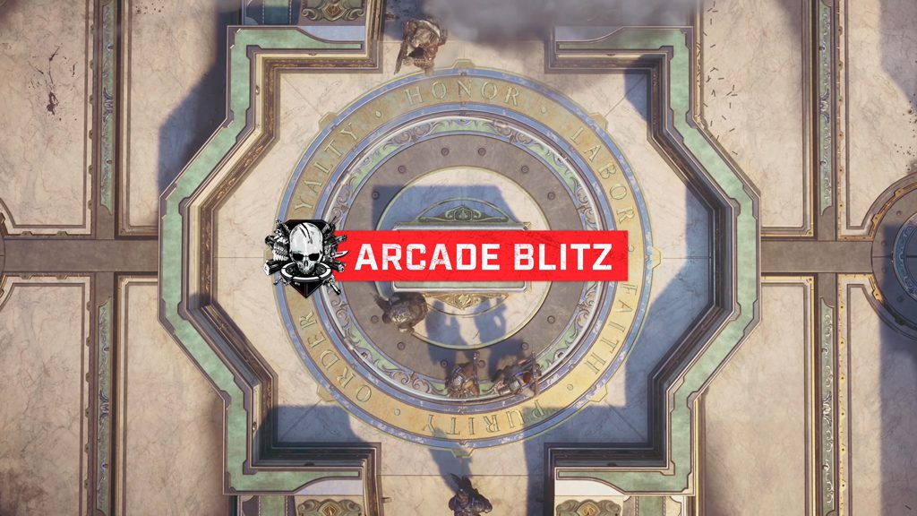 """Arcade Blitz"" on a banner across a birds-eye view of the center of the map with characters rushing from the top and bottom."
