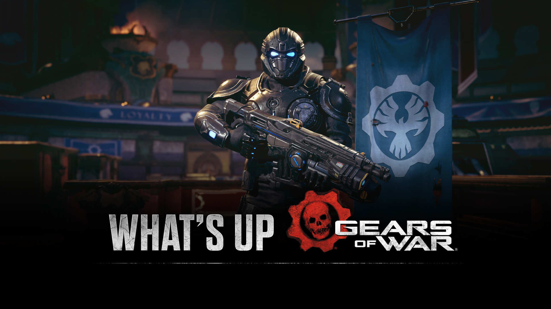 """""""What's Up"""" Gears of War promo image featuring Onyx Guard"""