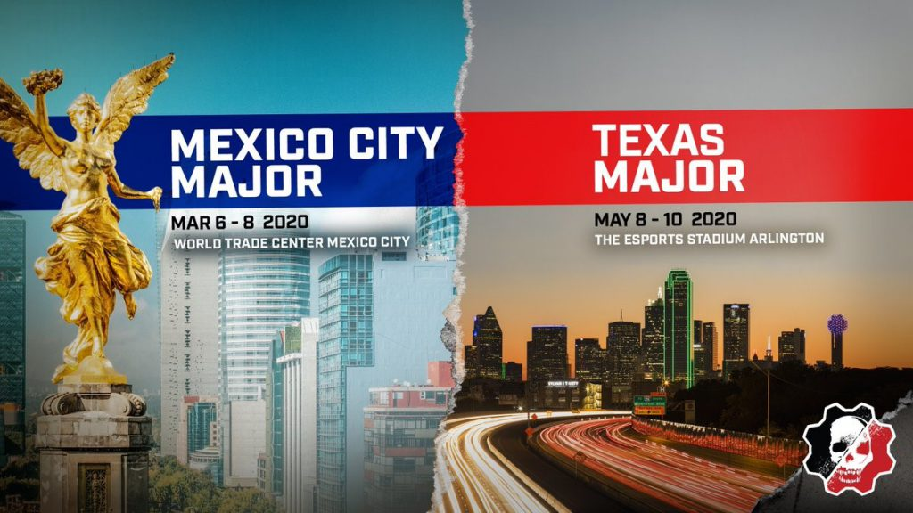 Advert for the next two Gears Esports events: Mexico City Major and Texas Major.