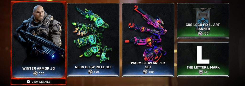 Screenshot of the weekly store items listed below