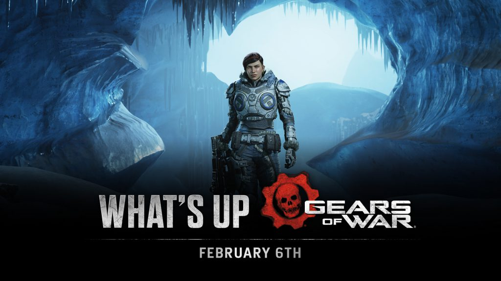 What's Up title image. Kait stands in an icy cave.