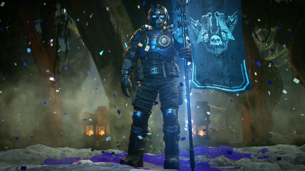 COG Soldier stands with the Gridiron Flag