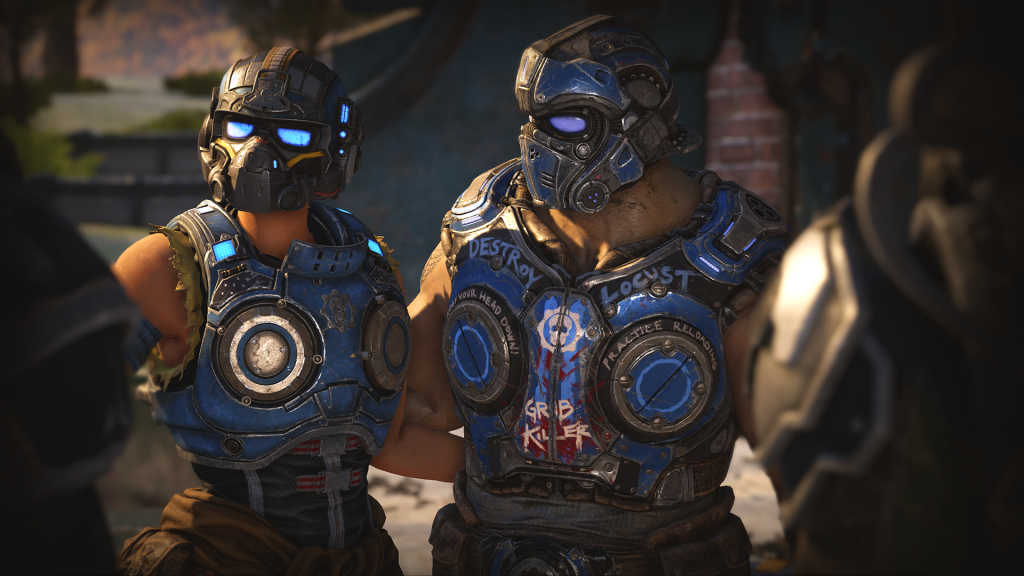 Screenshot of Lizzie Carmine and Clayton Carmine from Gears 5