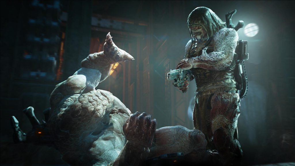 A character holding a boltok about to execute an enemy that is lying on the ground.