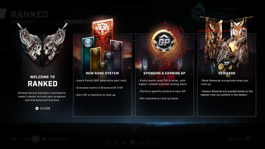 An example of some of the core features of the Ranked System for Gears 5.