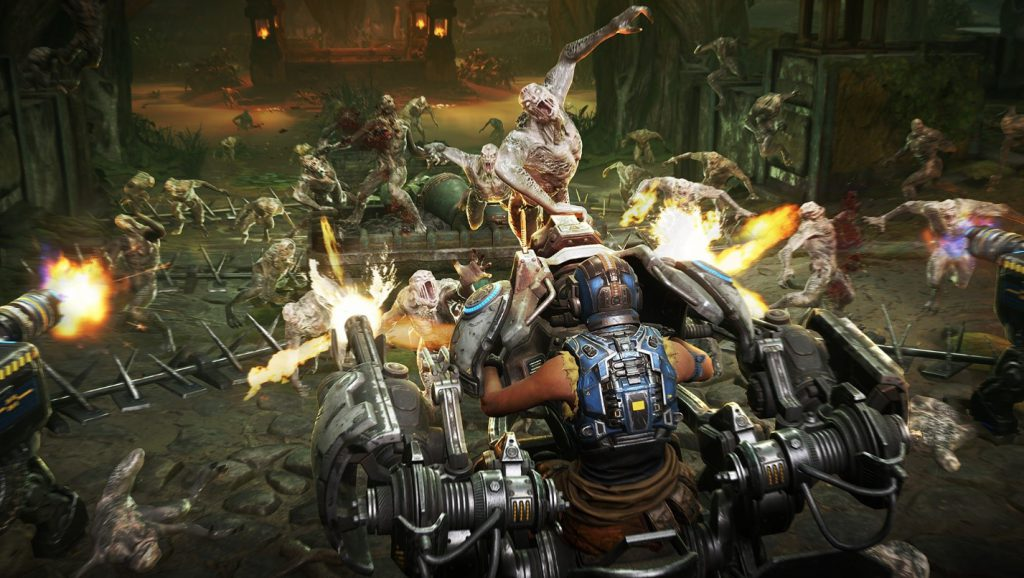 a COG Soldier in a turret shooting at a swarm of oncoming enemies
