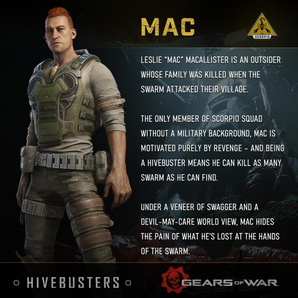 "Leslie ""Mac"" MacAllister is an Outsider whose family was killed when the Swarm attacked their village. The only member of Scorpio Squad without a military background, Mac is motivated purely by revenge – and being a Hivebuster means he can kill as many Swarm as he can find. Under a veneer of swagger and a devil-may-care world view, Mac hides the pain of what he's lost at the hands of the Swarm."