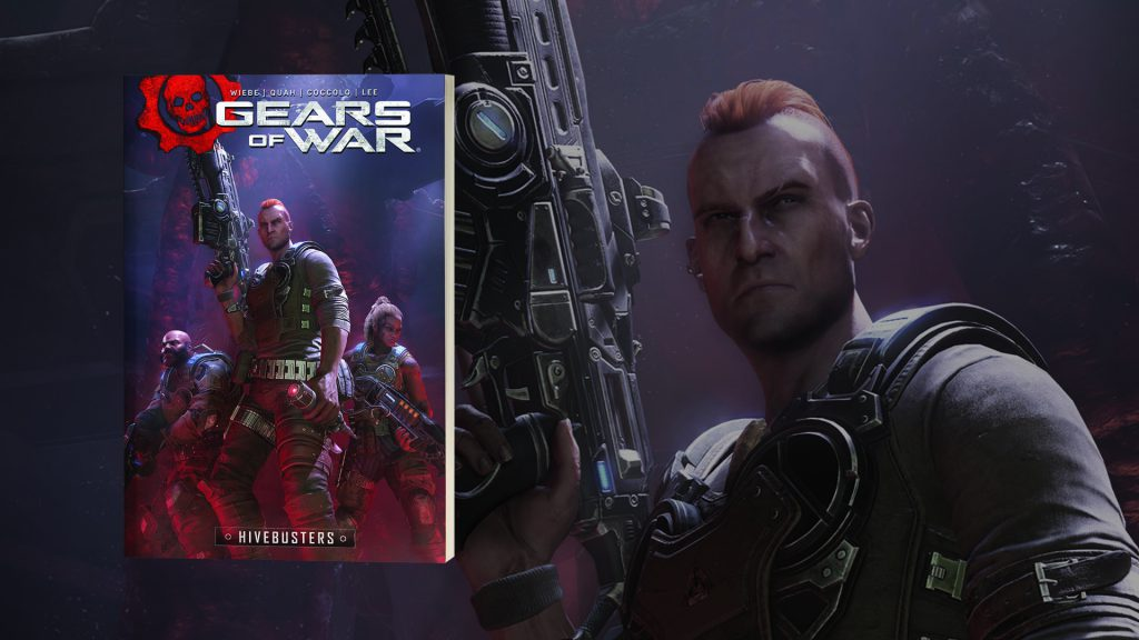 The front cover of the Gears of War Hivebusters Graphic Novel, featuring Mac holding a lancer